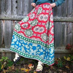 Large Angie fold over hippie boho rayon India print skirt